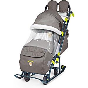 Санки коляска Ника Детям 7 3 в джинсовом цвете коричневый