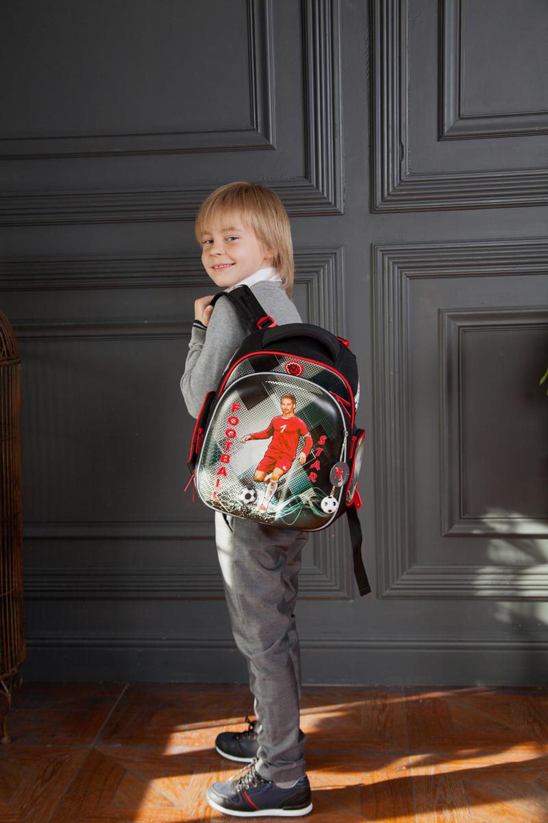 Ранец для первоклассника Hummingbird TK60 Футбол серый с мешком для обуви + пенал, - фото 4